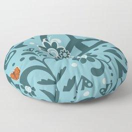 Peace, Love, and Garden  |  Cool, Blue Floor Pillow