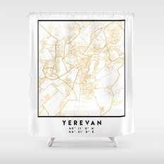 YEREVAN ARMENIA CITY STREET MAP ART Shower Curtain