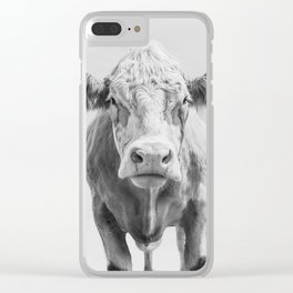 Animal Photography | Cow Portrait Minimalism | Farm animals | black and white Clear iPhone Case
