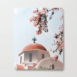 Summer In Greece Art Print | Pink Flowers Photo | Crete Island Holiday | Europe Travel Photography Metal Print