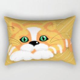 Cute Fluffy Ginger and white cat Rectangular Pillow