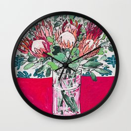 Bouquet of Proteas with Matisse Cutout Wallpaper Wall Clock