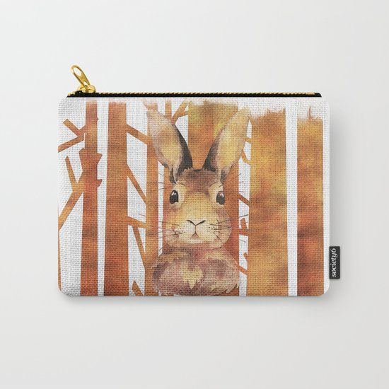 Fast Rabbit in the forest- abstract Hare watercolor Illustration Carry-All Pouch