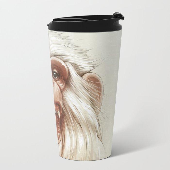 The White Angry Monkey Metal Travel Mug