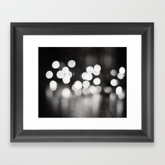 Black and White Sparkle Lights Photography, Neutral Bokeh Sparkly Photograph Framed Art Print