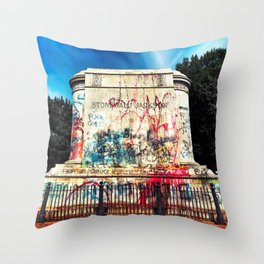 Stonewall Jackson Monument after BLM Protests and Statue was Removed Richmond Virginia Throw Pillow