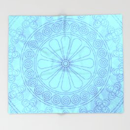 Mandala blue Throw Blanket