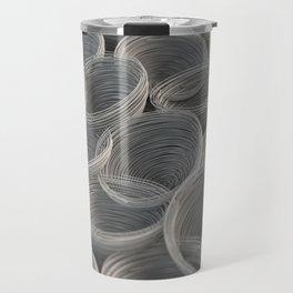 White spiraled coils Travel Mug