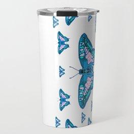 CONTEMPORARY LAGOON BLUE BUTTERFLIES MODERN ART Travel Mug
