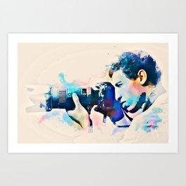 Watercolor Photographer Camera Man Art Print