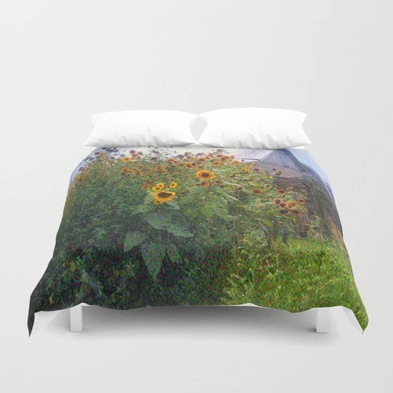 Sunflowers Overgrow the Barn Duvet Cover