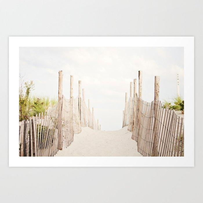 Beach Photography, Coastal Dunes Art, Neutral Seashore Photo, Beach Fence, Seaside Coast Picture Kunstdrucke
