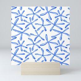 Blue starfish watercolor design Mini Art Print