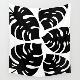 Black and White Palm Leaves Wall Tapestry