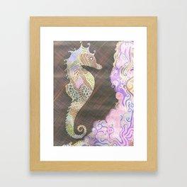 Neon Sea-Horse Framed Art Print