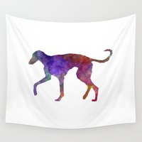 greyhound Wall Tapestries featuring Polish Greyhound in watercolor by Paulrommer