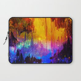 CASTLES IN THE MIST Magical Abstract Acrylic Painting Mixed Media Fantasy Cosmic Colorful Galaxy  Laptop Sleeve