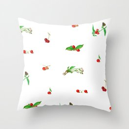 Botanical Cherry Pattern 1 Throw Pillow