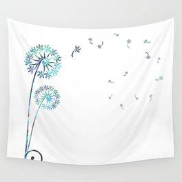 Dandelion Paua White Wall Tapestry