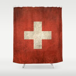 Old and Worn Distressed Vintage Flag of Switzerland Shower Curtain