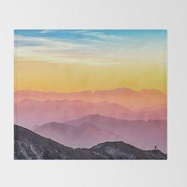 MOUNTAINS - LANDSCAPE - PHOTOGRAPHY - RAINBOW Throw Blanket