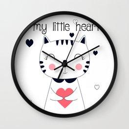 CAT CARTOON #LITTLE HEART Wall Clock