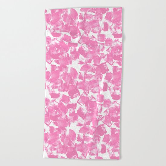 Pink Painter brushstrokes abstract minimal modern dorm college trendy boho painting monochromatic  Beach Towel