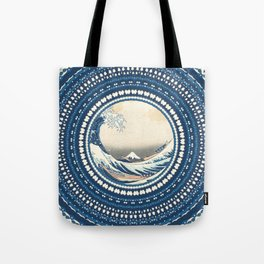 The Great Wave off Kanagawa in Mandala Tote Bag