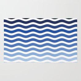 Ocean waves navy blue striped pattern, minimalist summer waves Rug