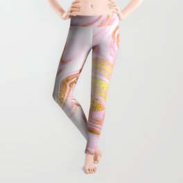 Rose Gold Marble Agate Geode Leggings
