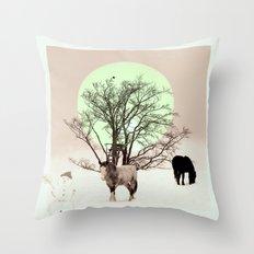Winter horses Throw Pillow