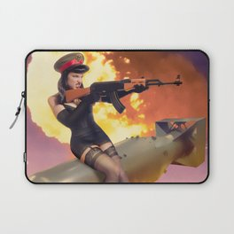 """""""Sovietsky by Air"""" - The Playful Pinup - Missile Russian Pin-up Girl by Maxwell H. Johnson Laptop Sleeve"""
