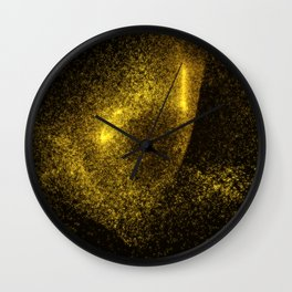 Eye from yellow glowing particles Wall Clock