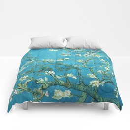 Vincent van Gogh Blossoming Almond Tree (Almond Blossoms) Light Blue Comforters