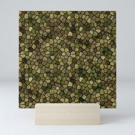 Seaweed and Juniper Cobbled Patchwork Terrazo Pattern Mini Art Print