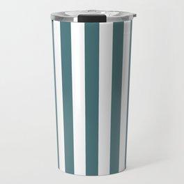 Beetle Green and White Vertical Beach Hut Stripes Travel Mug