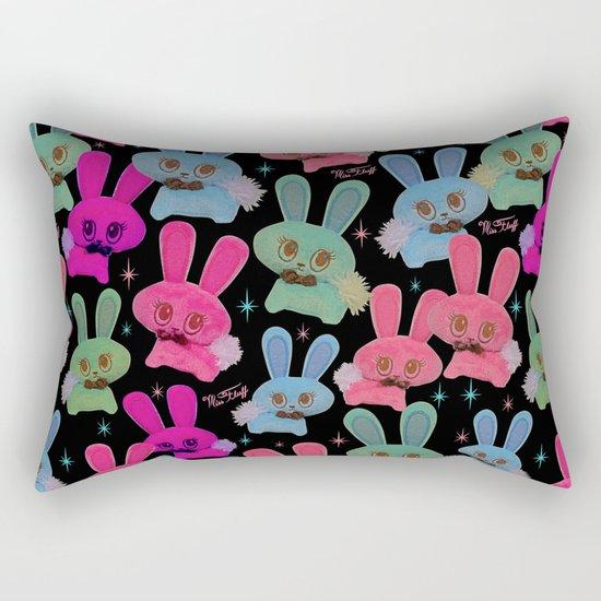 Cute Bunnies on Black Rectangular Pillow