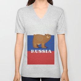 Russian bear cartoon travel poster Unisex V-Neck