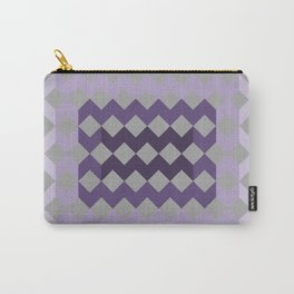Grey Purple Quilt Carry-All Pouch