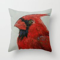 cardinal Throw Pillows featuring Cardinal by Michael Creese
