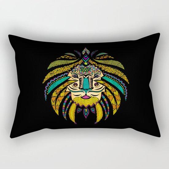 Tribal Lion on Black Rectangular Pillow