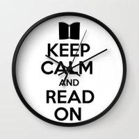 keep calm Wall Clocks featuring Keep Calm by bookwormboutique
