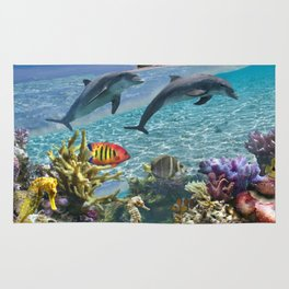 Coral Reef and Dolphins Rug