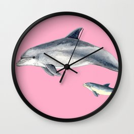 Bottlenose dolphin pink Wall Clock