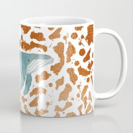 Blue Whale Swimming in Copper Coffee Mug