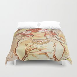 Rose by Alphonse Mucha 1897 // Vintage Girl with Red Hair Floral Love Design Duvet Cover