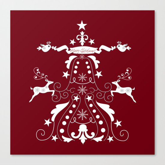 Retro damask christmas tree with text and reindeer Canvas Print
