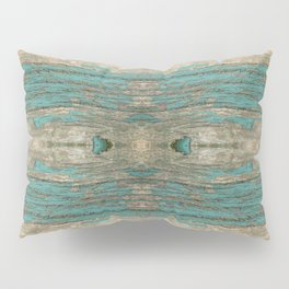 Weathered Rustic Wood - Weathered Wooden Plank - Beautiful knotty wood weathered turquoise paint Pillow Sham