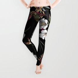 Beautiful Dark Floral Pattern Leggings