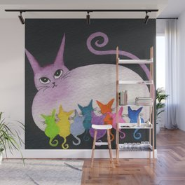 Easter Island Whimsical Cats Wall Mural